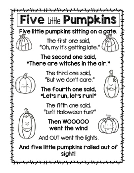 Five Little Pumpkins Poster and Math Counting Activity