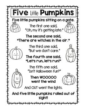 Crafty image intended for five little pumpkins poem printable