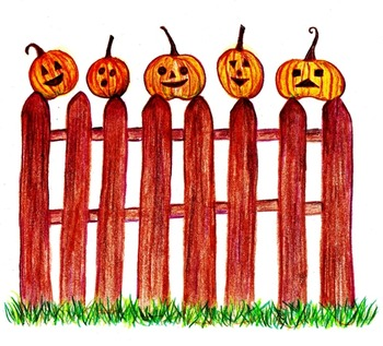Five Little Pumpkins ~ Colored Pencil Drawing Clip Art