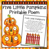 Five Little Pumpkins Printable Poem ~ Halloween Poetry for Kids