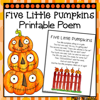 graphic about Five Little Pumpkins Printable known as 5 Minimal Pumpkins Printable Poem, Halloween Poetry for Children