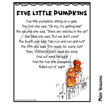 Five Little Pumpkins Printable Poem, Halloween Poetry for Kids