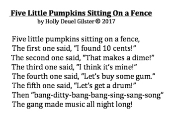 Five Little Pumpkins Sitting On a Fence