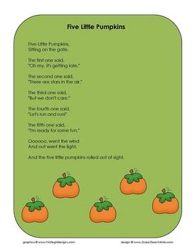 Five Little Pumpkins - Song Chart