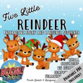 Five Little Reindeer, BOOM Cards Speech Therapy, Holiday Activities, Homework