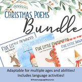 Five Little Poems BUNDLE | Table Tents | Holiday Speech Therapy Activities