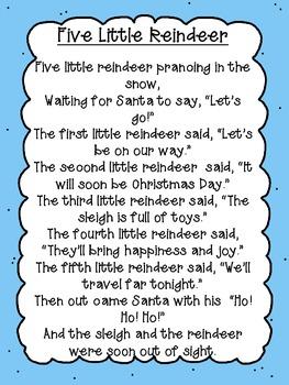 Five Little Reindeer Poem Freebie