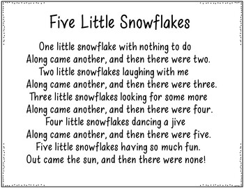 Five Little Snowflakes (Pocket Chart Poem with Student Books)