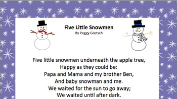 Five Little Snowmen/Musical Drama/Snowman Songs