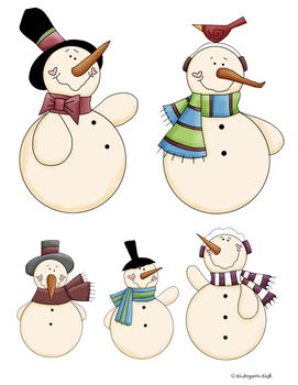 Five Little Snowmen Fat Finger Play Chart & Puppets