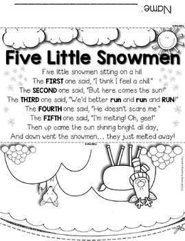 Five Little Snowmen --- Re-Telling Craftivity and Poem