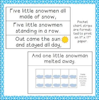"""""""Five Little Snowmen"""" Interactive Pocket Chart and Song Props"""
