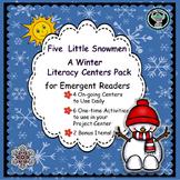 Five Little Snowmen  Winter  Literacy Centers for Emergent Readers