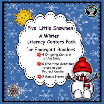 Five Little Snowmen  Winter  Literacy Centers for Emergent Readers