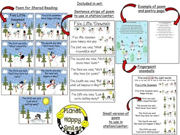Winter Activity ~ Five Little Snowmen: Poetry and Math Activities