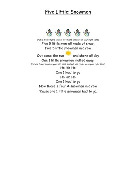 Five Little Snowmen Poem with Puppets