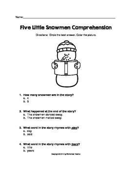 Five Little Snowmen Reader's Theater with Activities