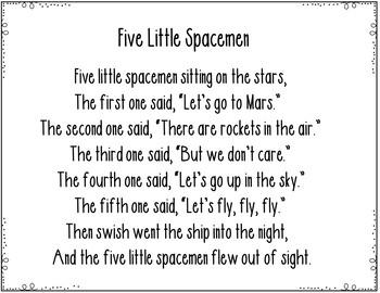 Five Little Spacemen (A  Pocket Chart Activity)