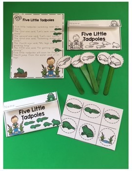"Five Little Tadpoles Craft Poem ""Make and Take Home"""