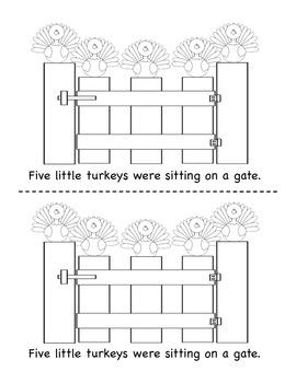 Five Little Turkeys - A Thanksgiving Little Reader (In B&W with retelling props)