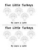 Five Little Turkeys - A Thanksgiving Little Reader (In B&W
