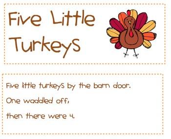Five Little Turkeys Emergent Reader