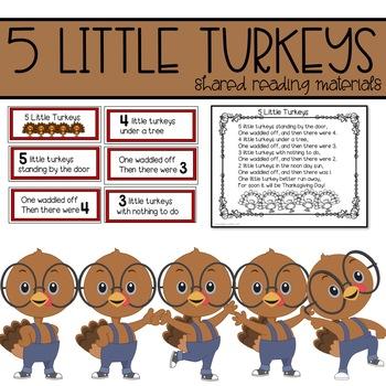 Five Little Turkeys Shared Reading for November