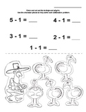 Five Little Turkeys Subtraction Page