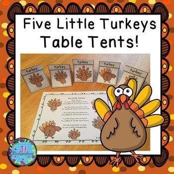 Five Little Turkeys! Table Tents! ESL Newcomers
