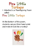Five Little Turkeys Thanksgiving Poem and Handprint Craft