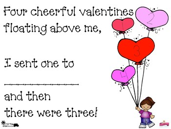 5 Little Valentines: Standard-based, Subtraction from 5 book, 1 less, Pre-K to K