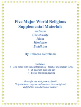 Five Major World Religions Supplemental Materials Including Quiz and Project