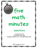 Five Math Minutes Multiplication Drill Questions