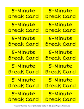 Five Minute Break Cards: Behavior/Emotion Management
