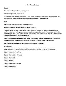 Five Minute Frenzies - 5.NBT.7 - Decimal Computation (addition and subtraction)