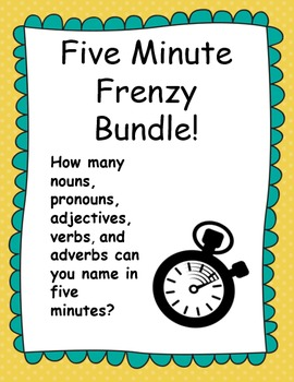 Five Minute Frenzy Grammar Bundle: 5 Worksheets!