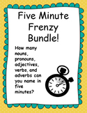 Five Minute Frenzy Grammar Bundle: 5 Worksheets!