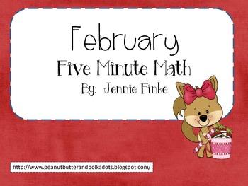 Five Minute Math: February (Common Core Aligned)
