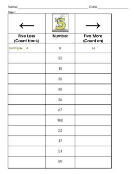 Five More Five Less Graphic Organizer Number Order