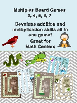 Five No Prep Math Centre Board Games - Multiples of 3,4,5,6 and 7 + addition