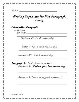 Five Paragraph Easy Essay Organizer