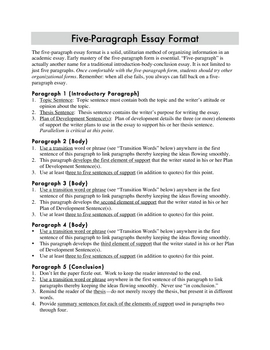 Five Paragraph Essay Format and Transition Words / Phrases