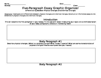Five Paragraph Essay Graphic Organizer: Matter and Its Changes