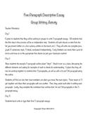 Writing Activity --- Five Paragraph Descriptive Essay