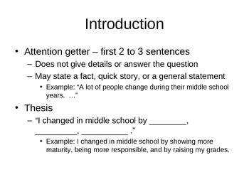Five-Paragraph Essay Notes