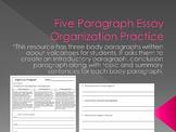 Five Paragraph Essay Organization Practice