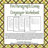 Five Paragraph Essay Organizer Worksheet