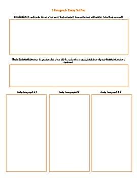 Five Paragraph Essay Outline Organizer Planner