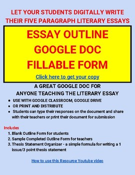 Five Paragraph Essay Outline Organizer For Google Doc Google Classroom