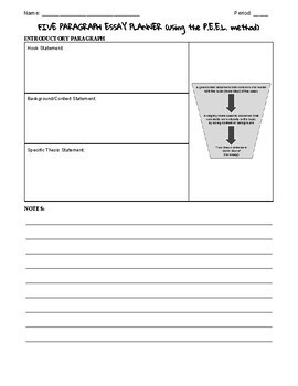 Five Paragraph Essay Planner (Graphic Organizer) Using the P.E.E.L. method